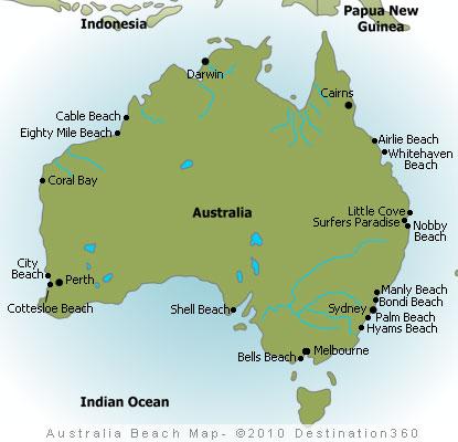 australia beaches map
