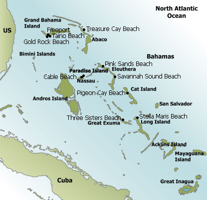 Bahamas Beaches Map