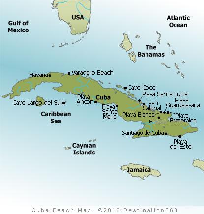 Cuba Beach Map - Map of Cuba Beaches