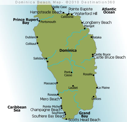 Dominica Beaches Map