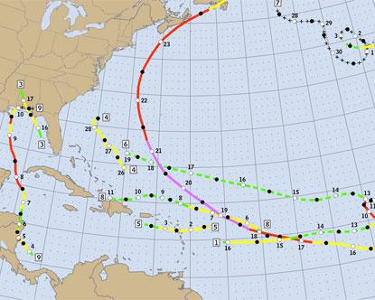 Caribbean Hurricane Map - Map of Hurricanes in the Caribbean