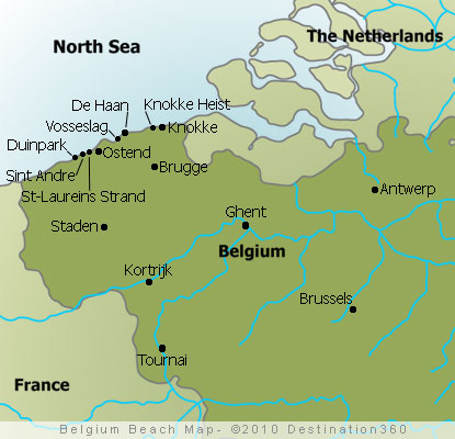 Belgium Beaches Map Map of Belgian Beaches