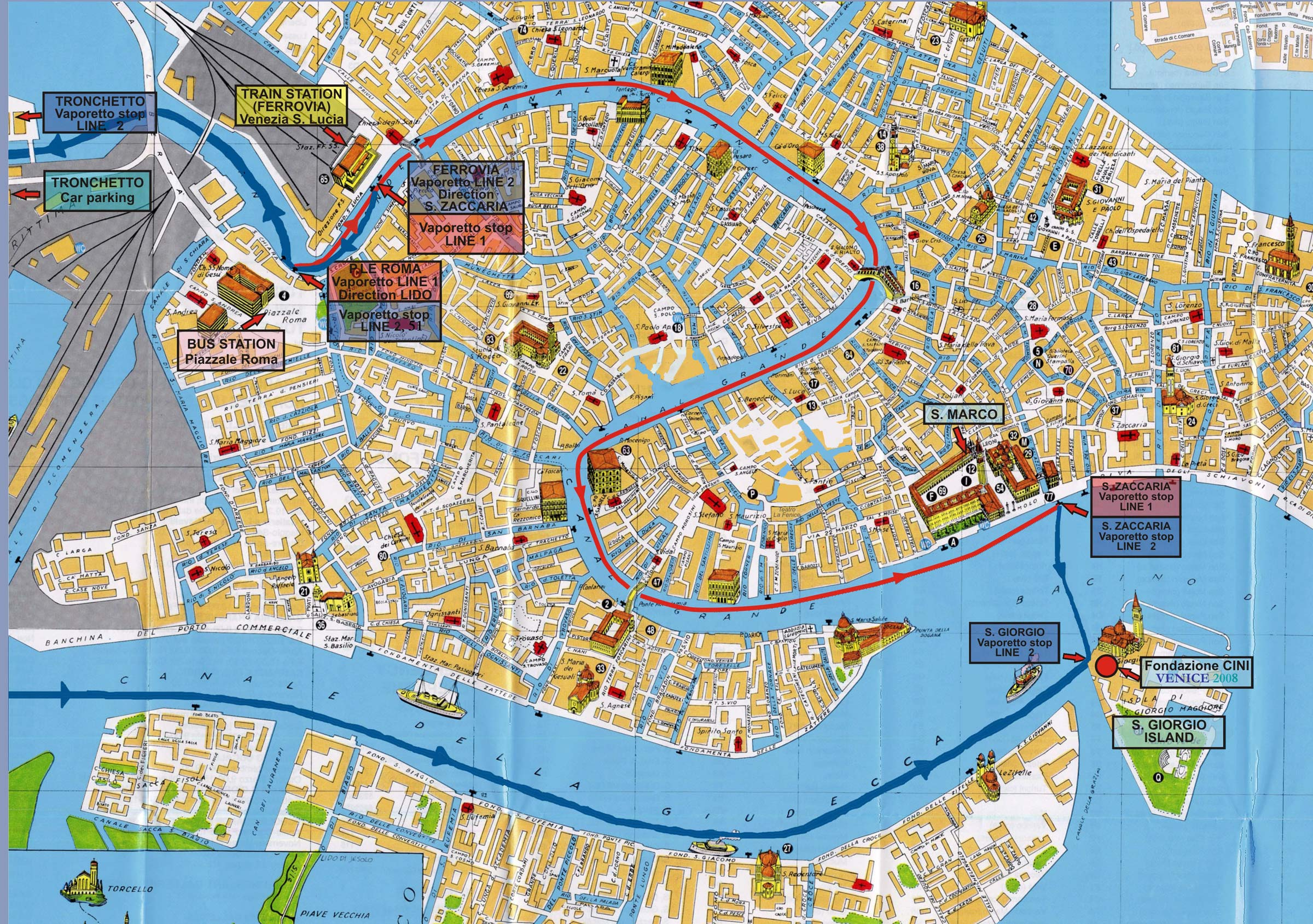 Map of venice italy for Taksim santa lucia hotel