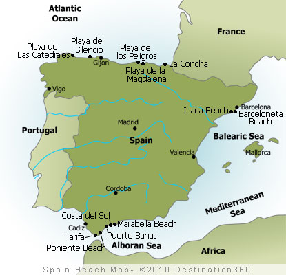 Spain Beaches Map Spanish Beaches Map