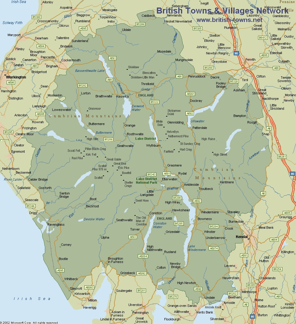 lake district in uk map Map Of The Lake District lake district in uk map