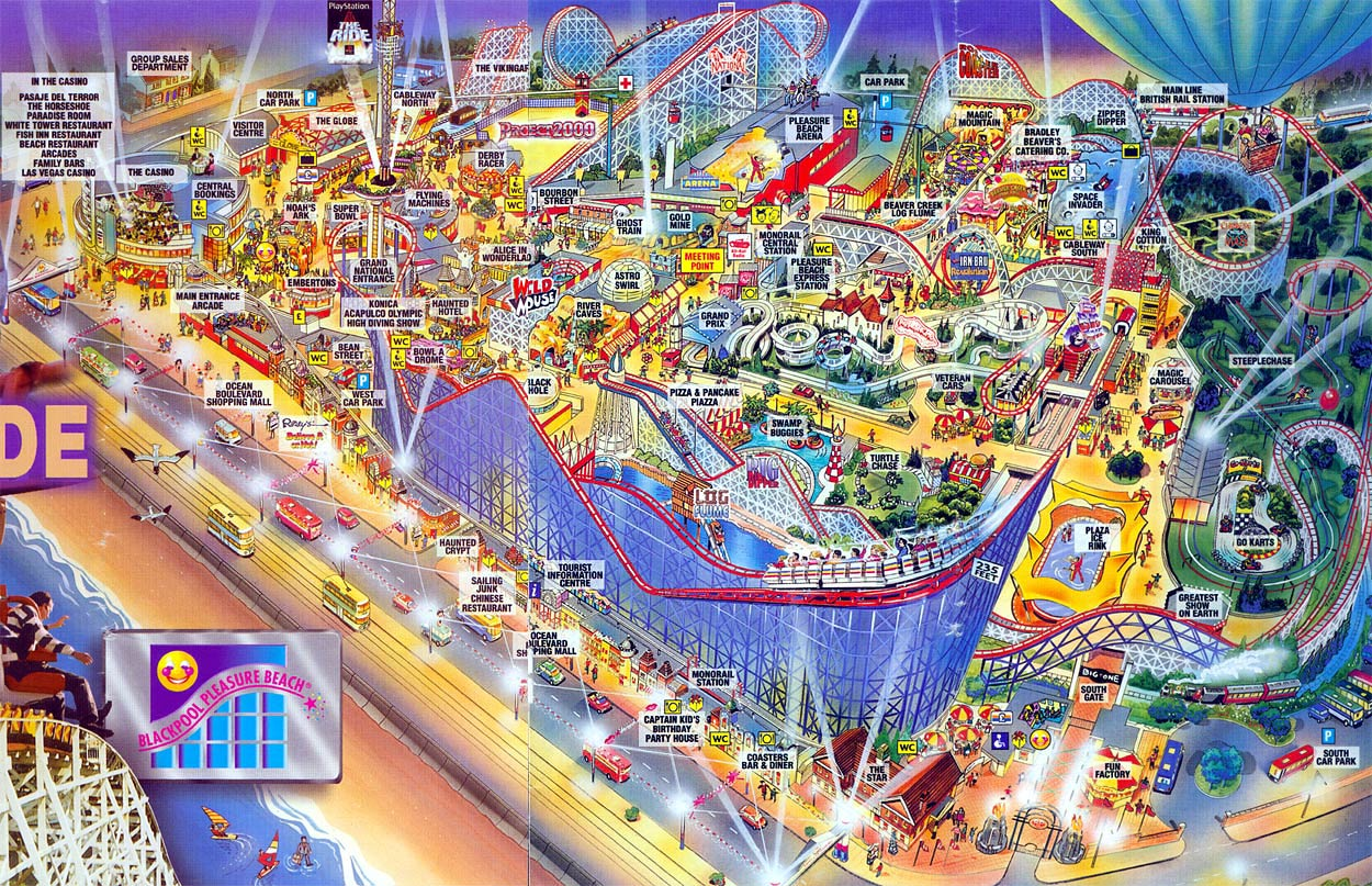 Map of Pleasure Beach Theme Park