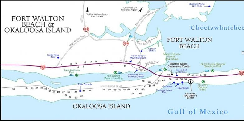Map of Okaloosa Island