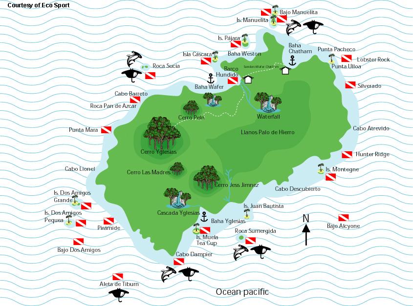 Coco Island Map Costa Rica Scuba Diving Map