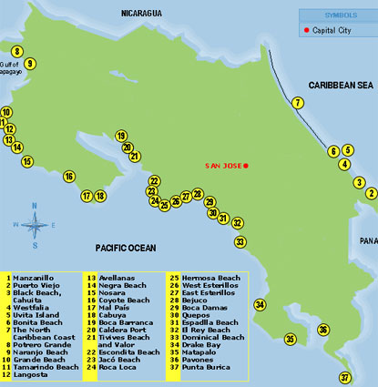 Costa Rica Surfing Map