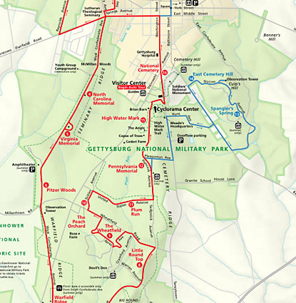 Gettysburg National Park Map | 415 x 425 jpeg 92kB