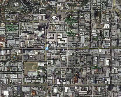 Map of Hollywood Boulevard