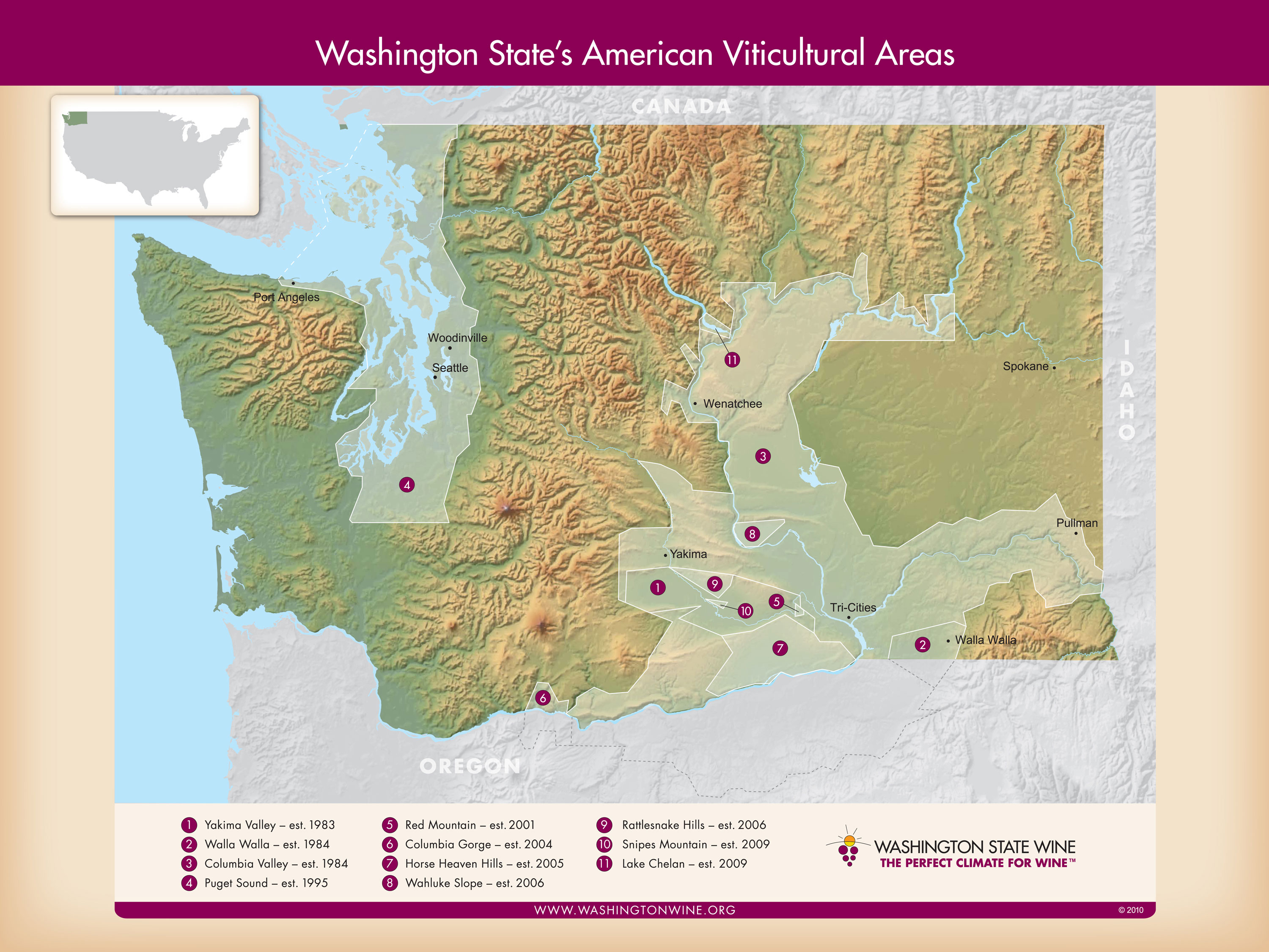 Washington State Wineries Map Washington Wine Map - Washington st map