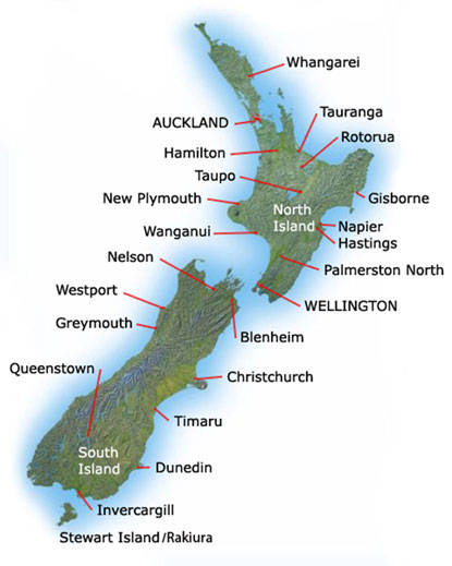 New Zealand Beaches Map