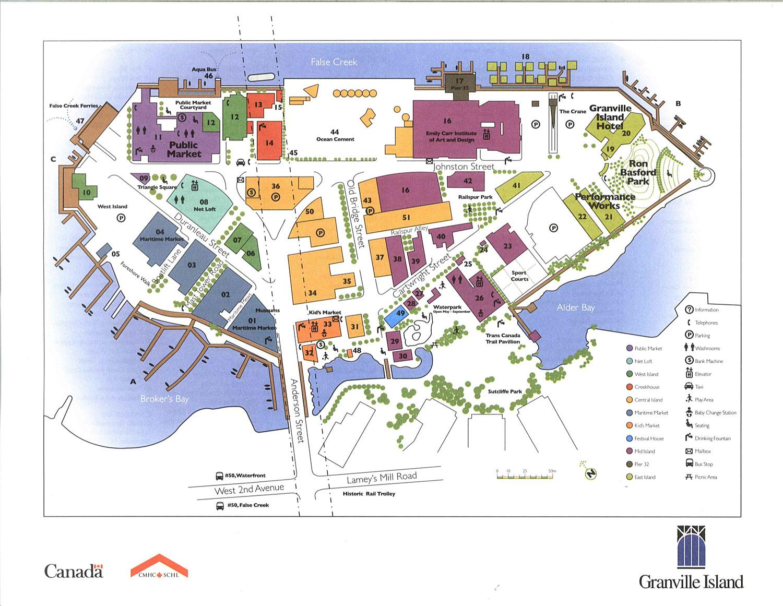 Granville Island Map Granville Island Map