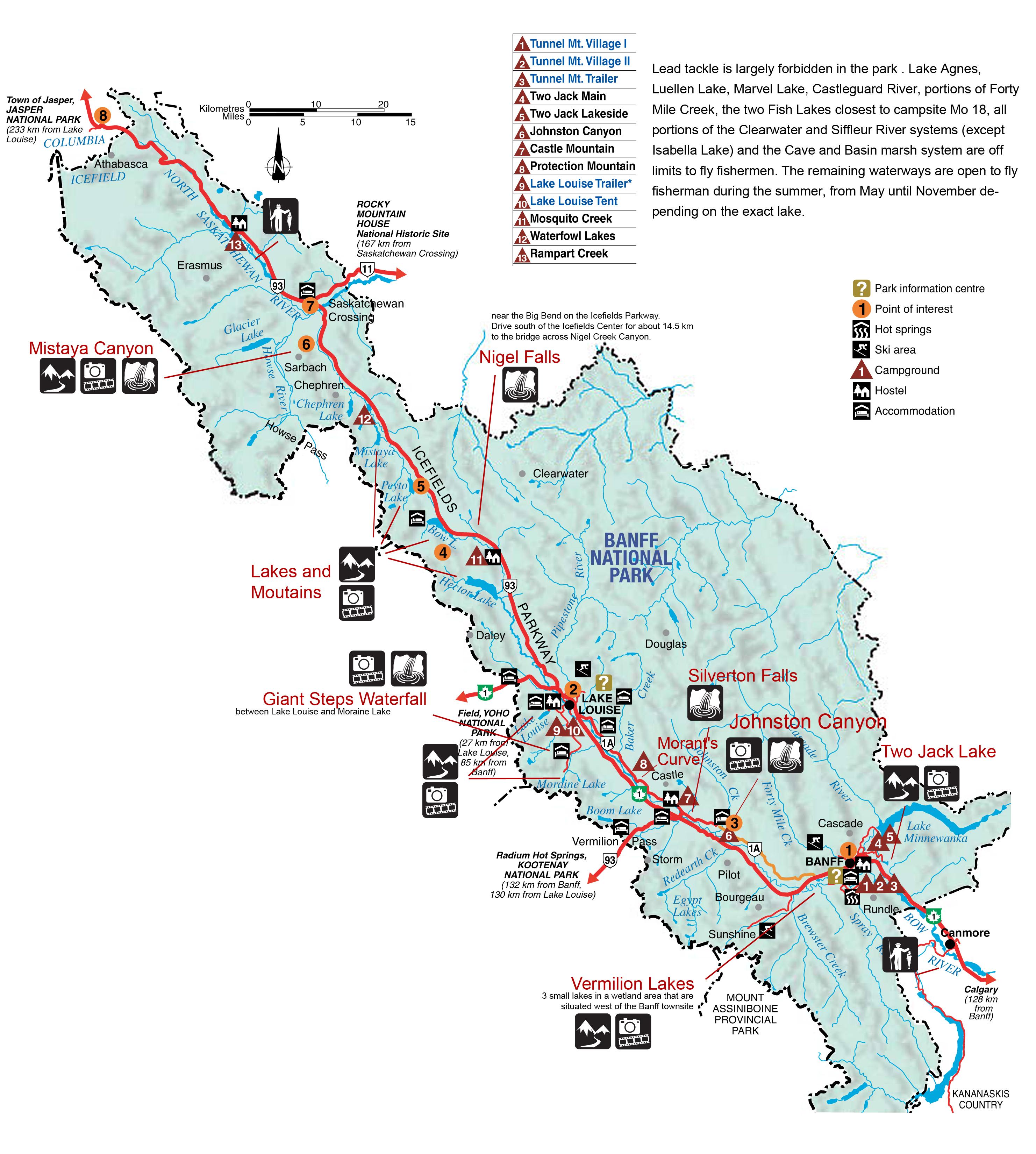 Banff National Park Map Banff National Park Map
