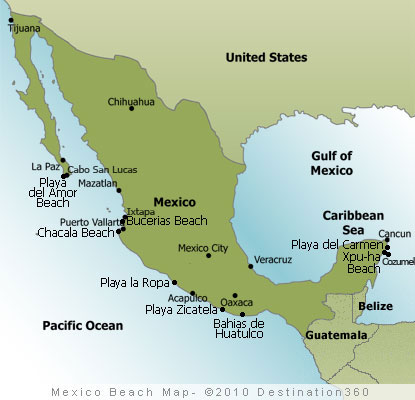 Mexico Beachesl Map