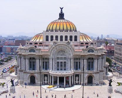 The palacio de bellas artes is the mexico city palace of fine arts an