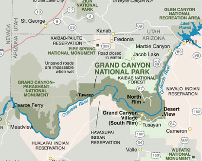 Grand Canyon Maps - Grand canyon location on us map