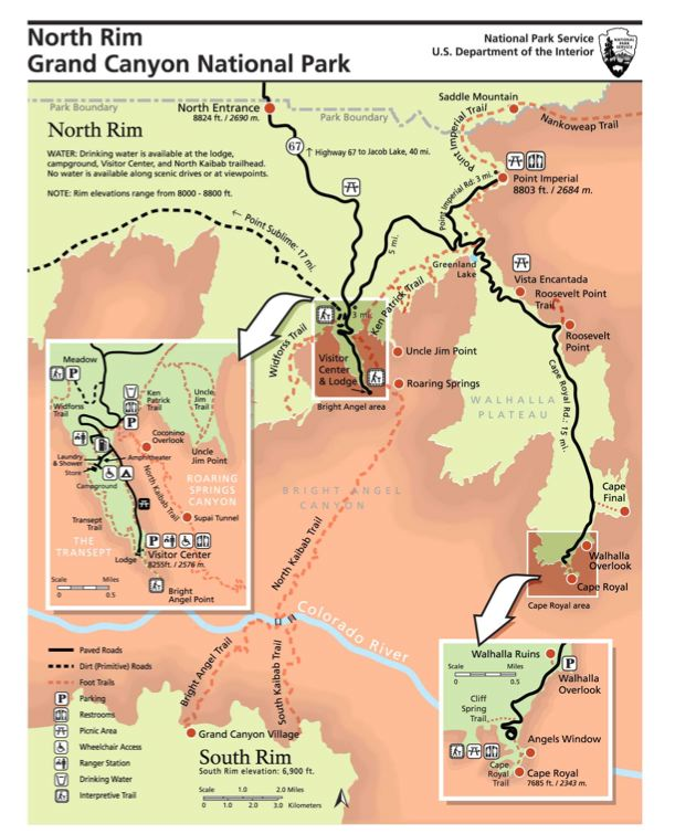 Grand Canyon North Rim Map