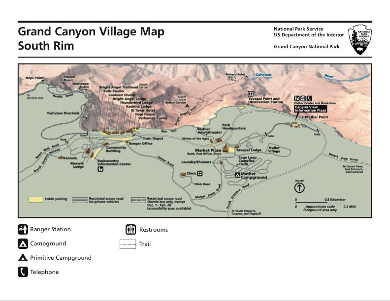 Grand Canyon Village Map - Map of Grand Canyon Village AZ