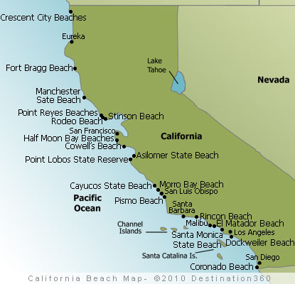 California Beaches Map Photos of the best beaches in California