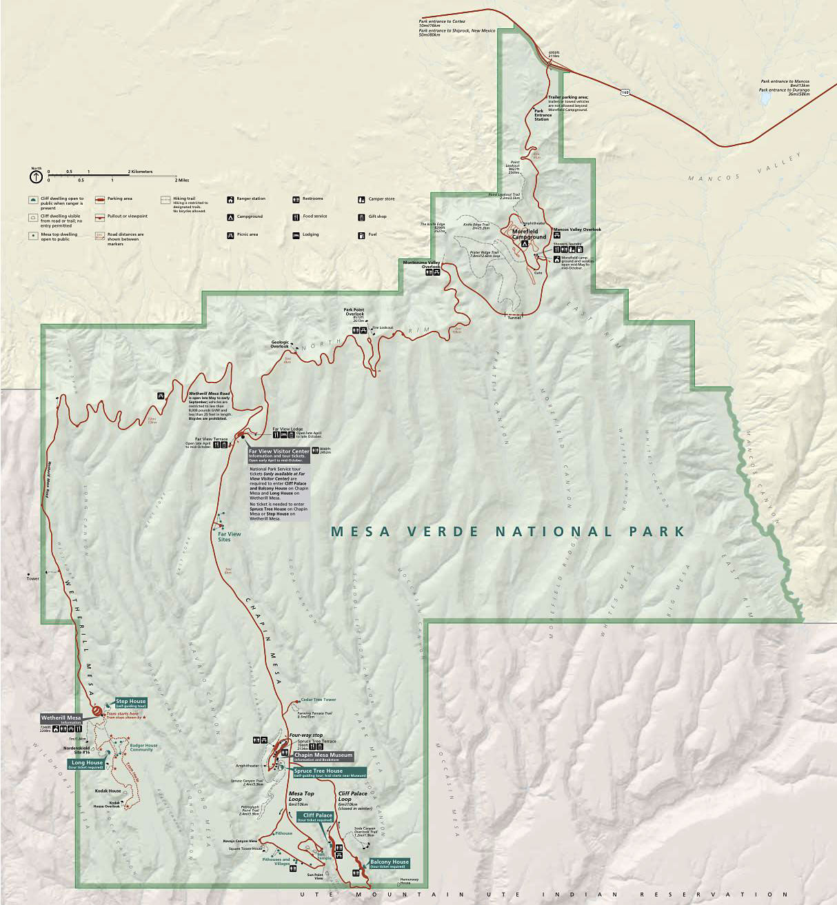 Map of Mesa Verde National Park - Mesa Verde Map