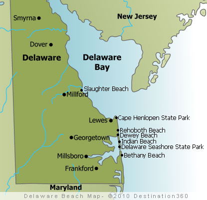 Delaware Beaches Map Delaware Beach Map - Delaware on us map