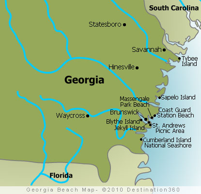 Georgia Beaches Map - Map of Beaches in Georgia