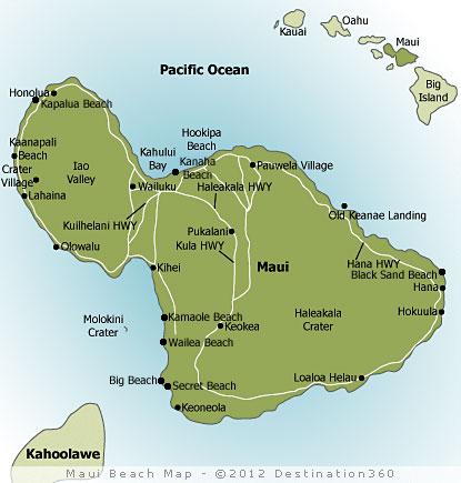 Kapalua Hawaii Map.Maui Beaches Map