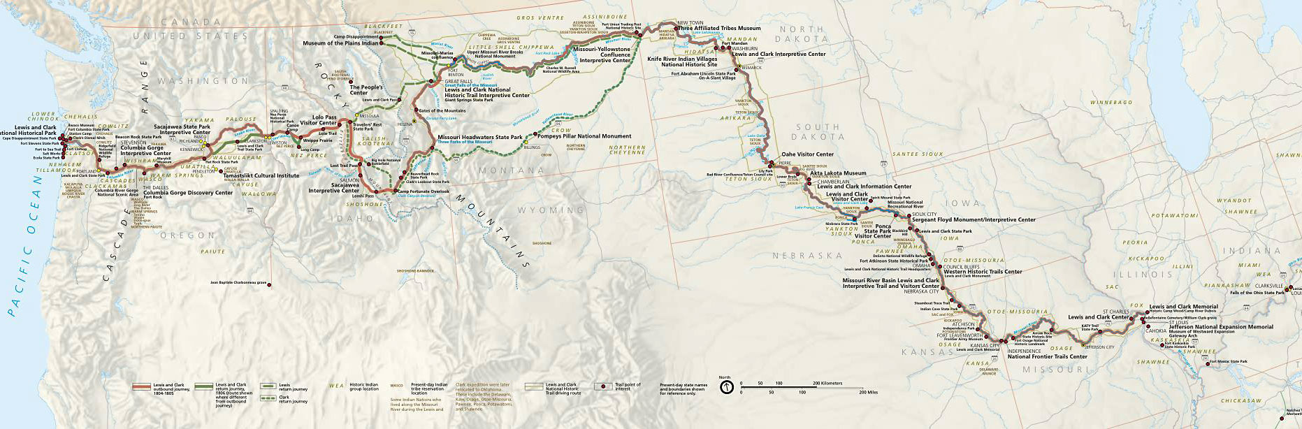 Lewis And Clark Trail Map Map Of Lewis And Clark