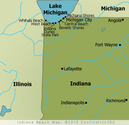 Michigan And Indiana Map.Indiana Beach Map Indiana Beaches Map