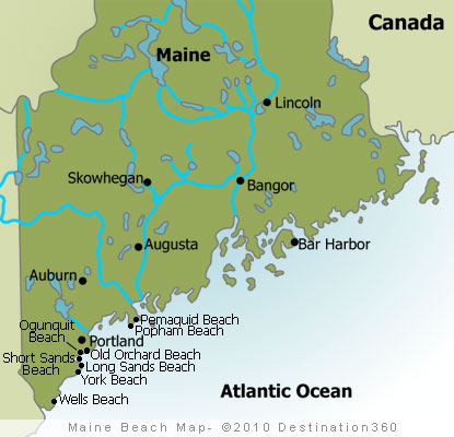Maine Beaches Map   Maine Coast Map