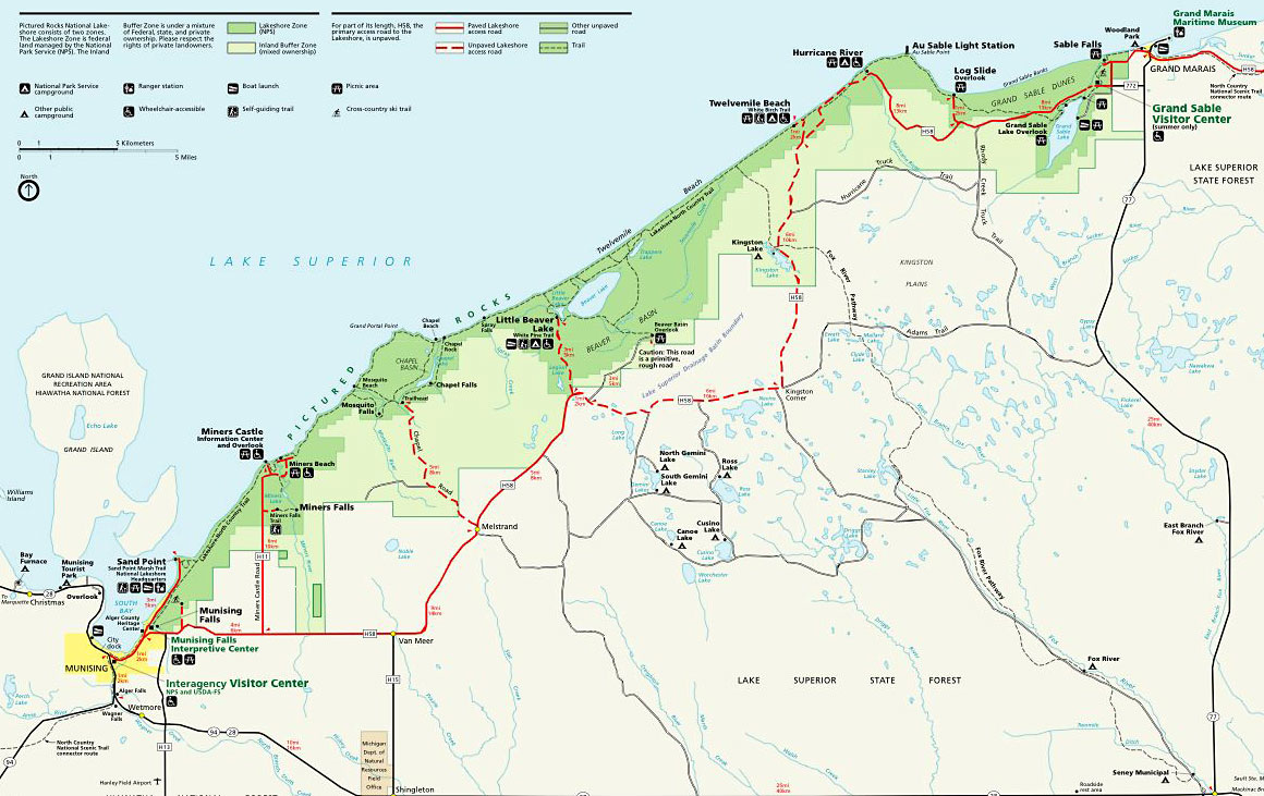 Great Lakes Ford >> Map of Pictured Rocks National Lakeshore, Pictured Rocks National Park, Pictured Rocks