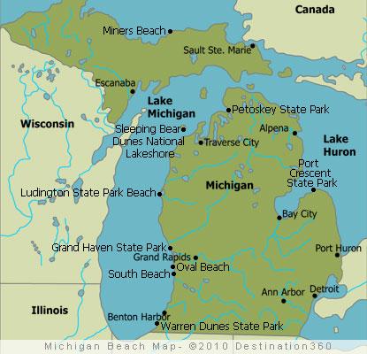 Lake Michigan Beaches Map Michigan Beaches Map   Map of Michigan Beaches Lake Michigan Beaches Map