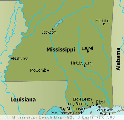 Mississippi Beaches Map Mississippi Gulf Coast Map
