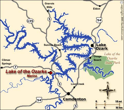 Lake Of The Ozarks Map - Missouri lakes map