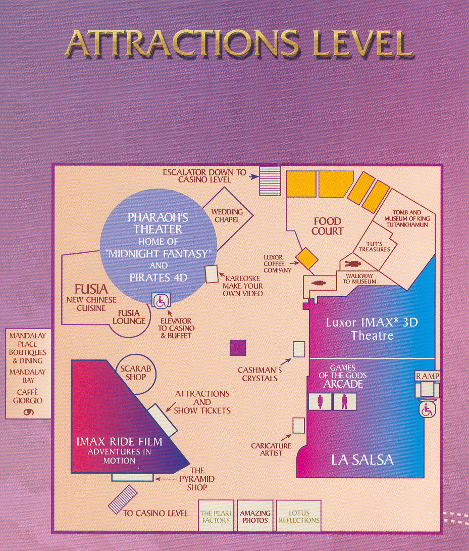 Luxor Hotel Map Map of Luxor Las Vegas