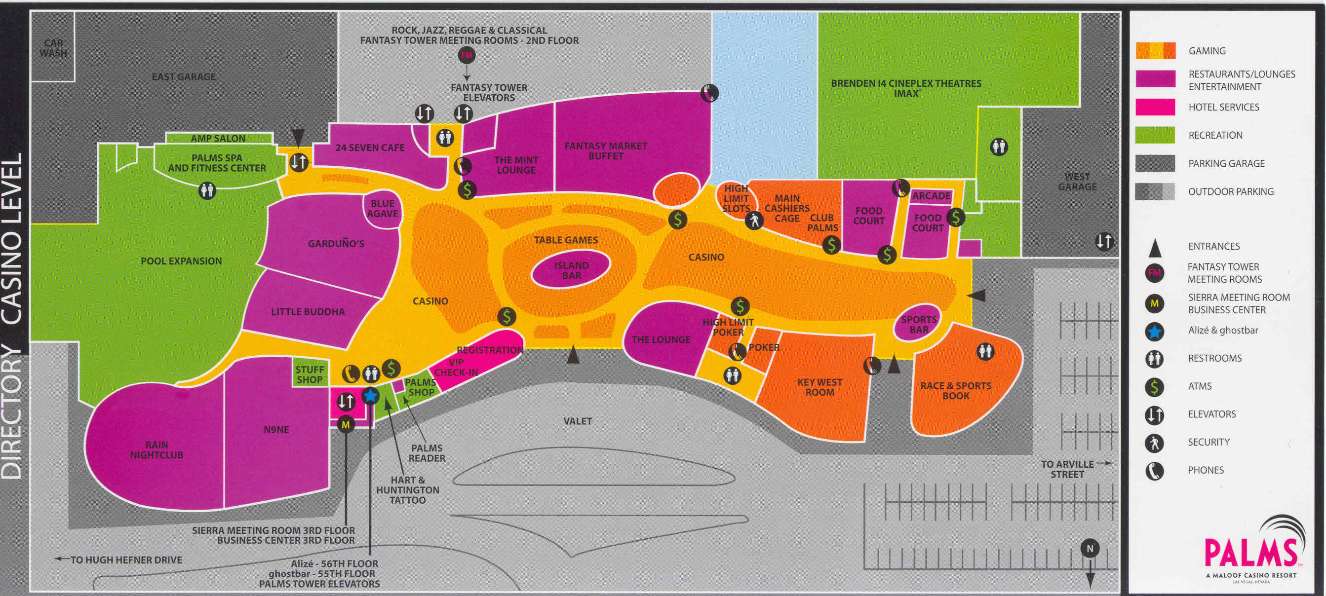 Palms Hotel Map Map Of The Palms Las Vegas