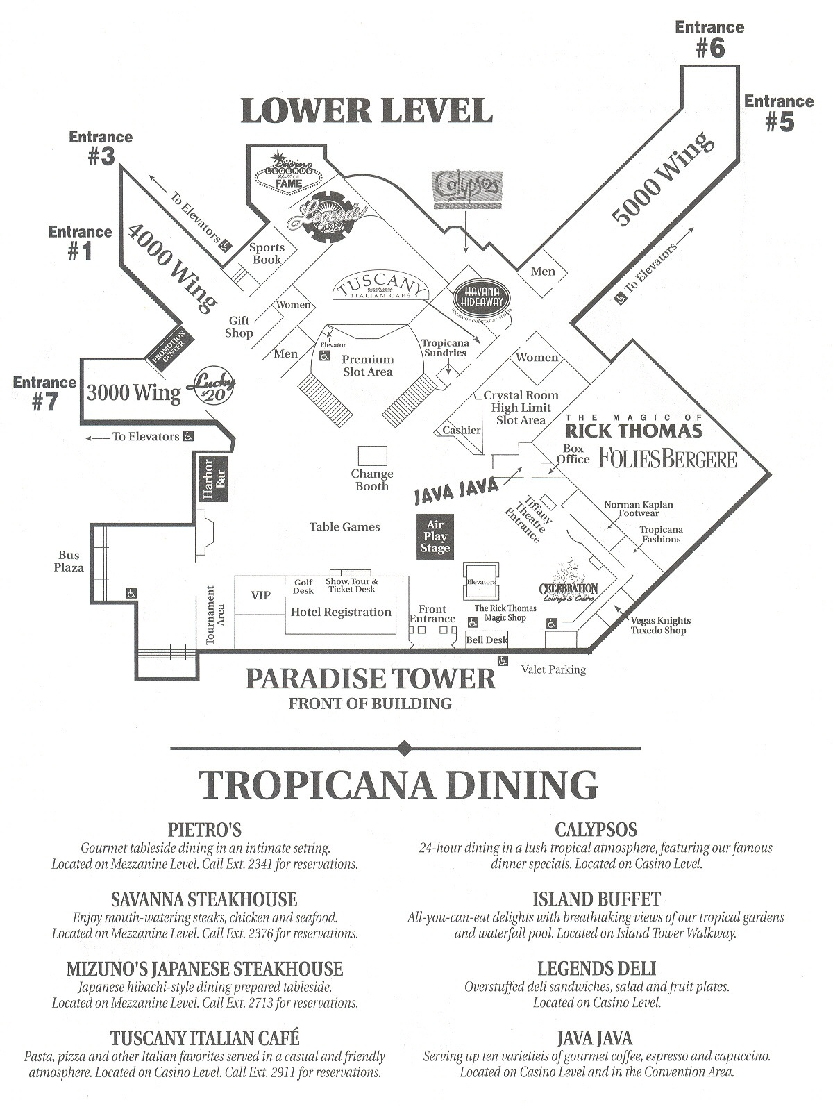Tropicana Las Vegas Map