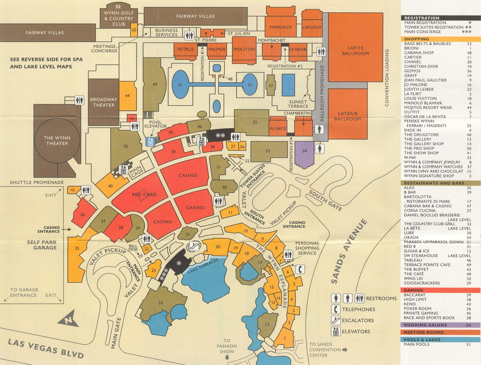 Wynn Las Vegas Map Wynn Hotel Map in Las Vegas   Map for Wynn Las Vegas