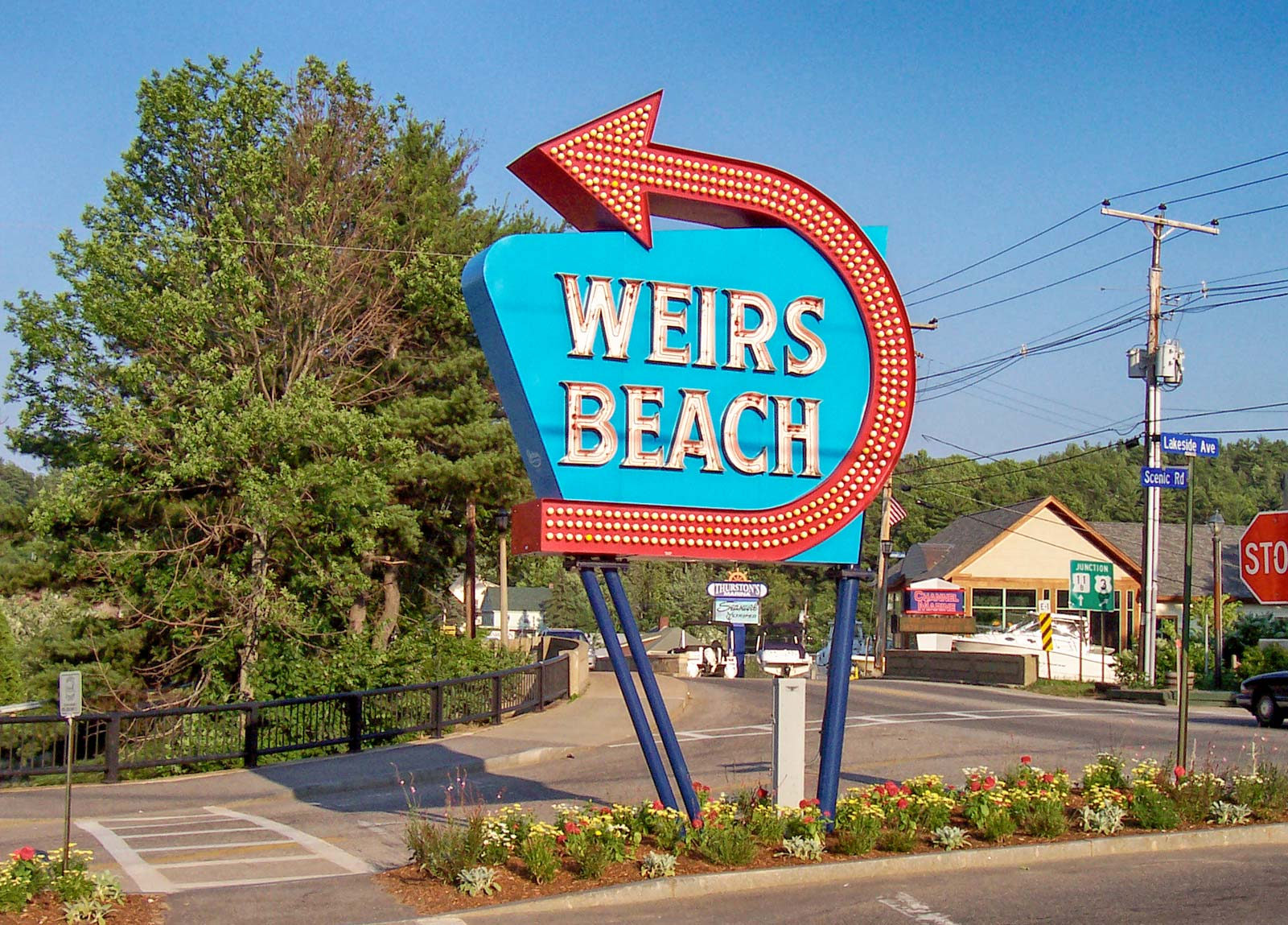 Weirs Beach Sign in New Hampshire