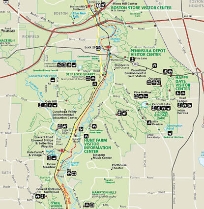 Cuyahoga Valley National Park Map Map of the Cuyahoga Valley