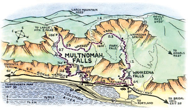 Map of Multnomah Falls Trail