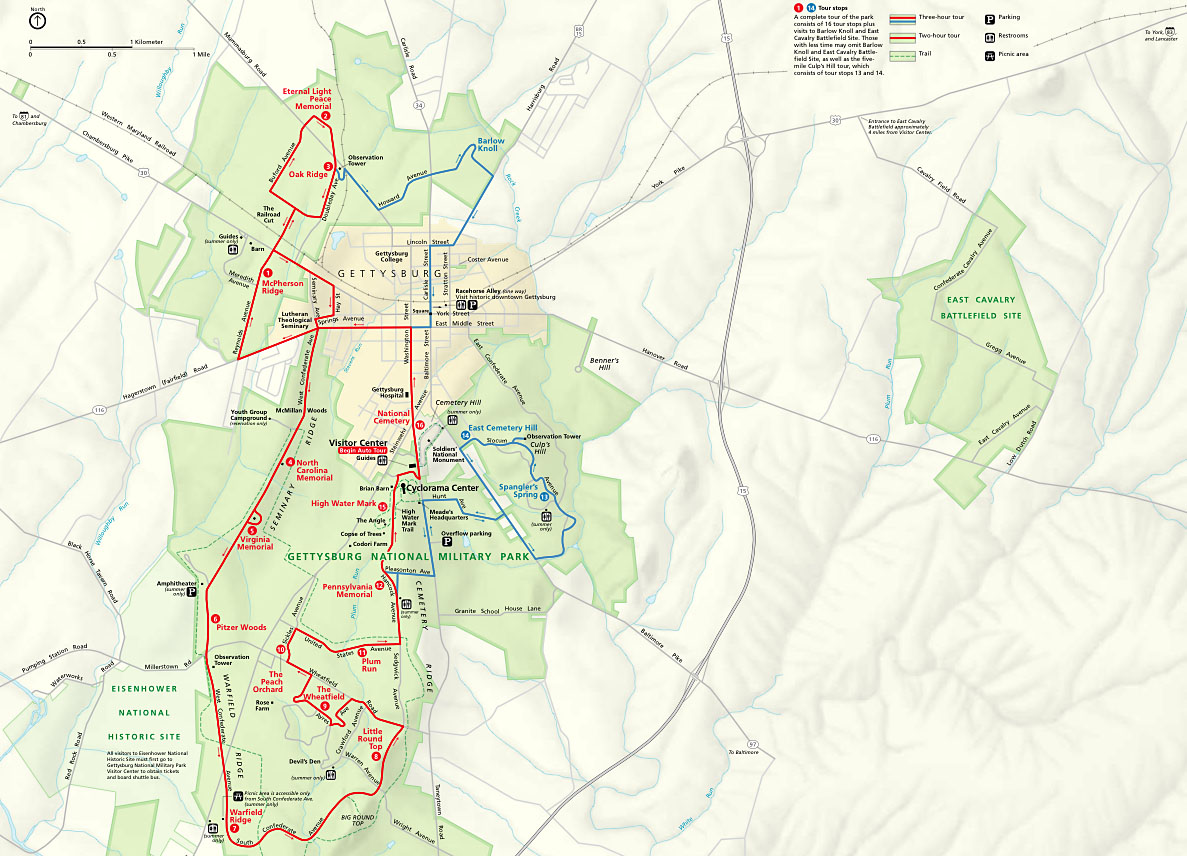 Map of Gettysburg National Park