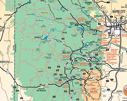 Black Hills Map Map Of Black Hills South Dakota