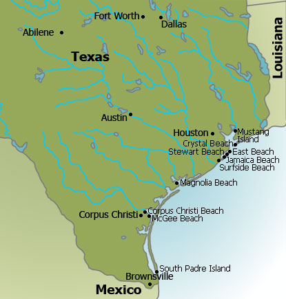 Texas Beaches Map - Texas Gulf Coast Map on