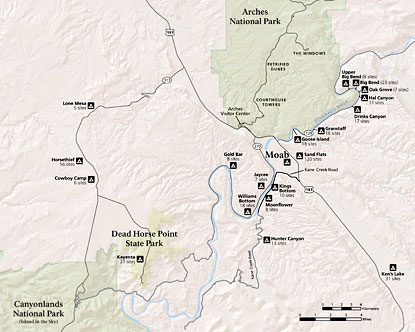 Map of Arches National Park Campgrounds