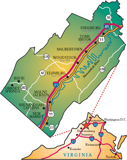 Map of Shenandoah Valley