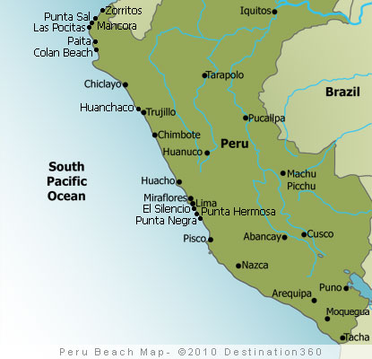 Peru Beaches Map
